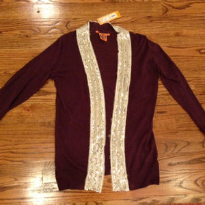 TORY BURCH Cardigan Purple Knit Sweater Sequin Med